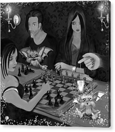 Unexpected Company - Black And White Fantasy Art Acrylic Print