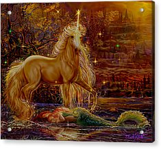 Unicorn And The Mermaid Mother Acrylic Print