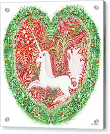 Unicorn Heart With Millefleurs Acrylic Print