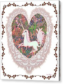 Unicorn In A Pink Heart Acrylic Print