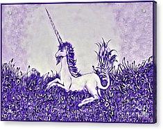 Unicorn In Purple Acrylic Print by Lise Winne