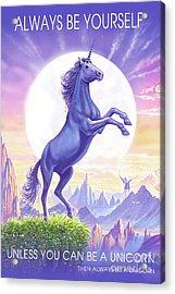 Acrylic Print featuring the digital art Unicorn Moon Ravens by Steve Crisp