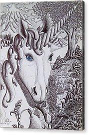 Unicorn On Vacation Acrylic Print by Joshua Armstrong