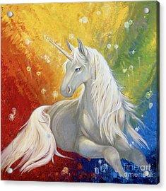 Unicorn Rainbow Acrylic Print by Silvia  Duran