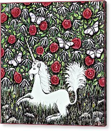 Unicorn With Red Roses And Butterflies Acrylic Print