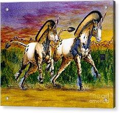 Unicorns In Sunset Acrylic Print by Melissa A Benson