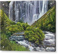 Union Falls Acrylic Print by Steve Spencer