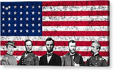 Union Heroes And The American Flag Acrylic Print by War Is Hell Store
