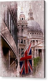 Union Jack By St. Paul's Cathdedral Acrylic Print