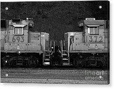 Union Pacific Locomotive Trains . 7d10574 . Black And White Acrylic Print