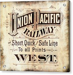 Acrylic Print featuring the mixed media Union Pacific Railroad - Gateway To The West  1883 by Daniel Hagerman