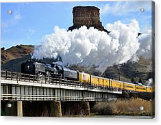 Union Pacific Steam Engine 844 And Castle Rock Acrylic Print by Eric Nielsen