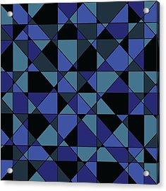 Acrylic Print featuring the digital art Unique Bold Hip Blue Cyan Grey Black Geometric Pattern by Shelley Neff