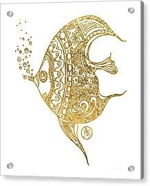 Unique Golden Tropical Fish Art Drawing By Megan Duncanson Acrylic Print by Megan Duncanson