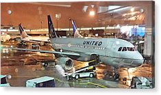 United Airlines A319 At Newark Airport Acrylic Print