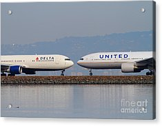 United Airlines And Delta Airlines Jet Airplane At San Francisco International Airport Sfo . 7d12091 Acrylic Print by Wingsdomain Art and Photography