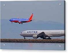 United Airlines And Southwest Airlines Jet Airplane At San Francisco International Airport Sfo.12087 Acrylic Print