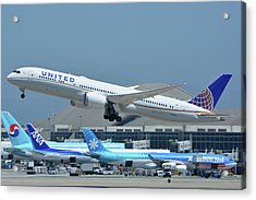 Acrylic Print featuring the photograph United Boeing 787-9 N27965 Los Angeles International Airport May 3 2016 by Brian Lockett