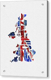 United Kingdom Typographic Kingdom Acrylic Print
