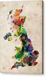 United Kingdom Watercolor Map Acrylic Print by Michael Tompsett