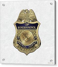 United States Border Patrol -  U S B P  Patrol Agent Badge Over White Leather Acrylic Print