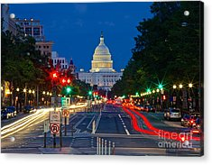 United States Capitol Along Pennsylvania Avenue In Washington, D.c.   Acrylic Print