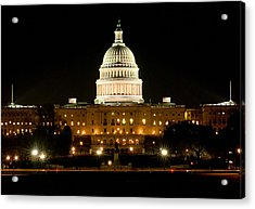 United States Capitol Grounds At Night Acrylic Print