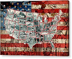 United States Drawing Collage Map 6 Acrylic Print
