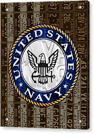 United States Navy Logo Recycled Vintage License Plate Art Acrylic Print