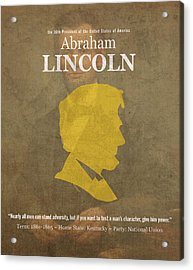 United States Of America President Abraham Lincoln Facts Portrait And Quote Poster Series Number 16 Acrylic Print