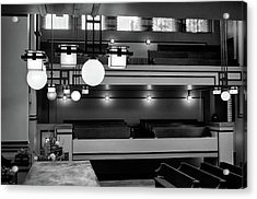 Unity Temple Interior Black And White Acrylic Print