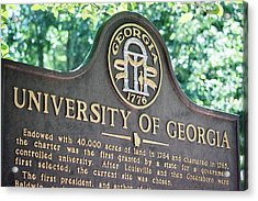 Acrylic Print featuring the photograph University Of Georgia Sign by Parker Cunningham