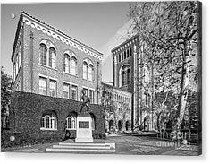 University Of Southern California Admin Bldg With Tommy Trojan Acrylic Print