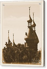 University Of Tampa Minarets With Old Postcard Framing Acrylic Print by Carol Groenen