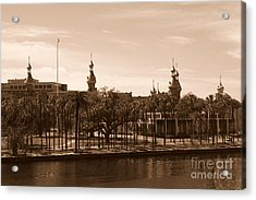 University Of Tampa With River - Sepia Acrylic Print by Carol Groenen