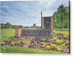 University Of Tulsa Mcfarlin Library Acrylic Print by Roberta Peake