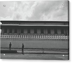 Unknown Men Standing With Long Building Behind Traditional Style Wall  Acrylic Print by Sirikorn Techatraibhop