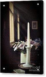 Unlit Candle In Old Church Acrylic Print
