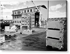 Unloading Fish Boxes From Fishing Boats In Reykjavik Harbour Iceland Acrylic Print