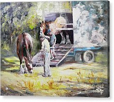 Unloading The Clydesdales Acrylic Print