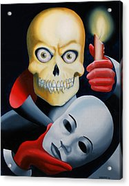 Unmasked - Skull Oil Painting Acrylic Print by Mark Webster