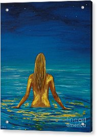 Acrylic Print featuring the painting Unmasking Series 1 by Leslie Allen