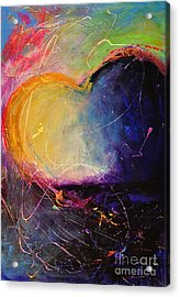 Unrestricted Heart Sunset Colors Acrylic Print by Johane Amirault
