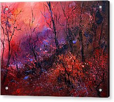 Unset In The Wood Acrylic Print by Pol Ledent