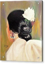 Untitled Dancer With White Flower Acrylic Print by Manuel Sanchez