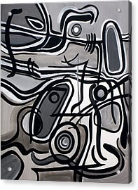 Acrylic Print featuring the painting Untitled Gray by Lynda Lehmann