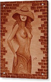 Acrylic Print featuring the painting Unveiled Topless Original Coffee Painting by Georgeta Blanaru