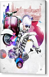 Up Town Top Scooter Girl Acrylic Print by Eugene James