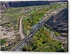 Acrylic Print featuring the photograph Up Tracks Cross The Mojave River by Jim Thompson