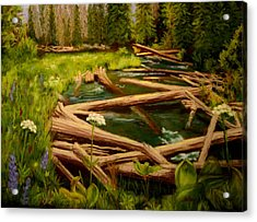 Acrylic Print featuring the painting Upper Deschutes by Nancy Jolley